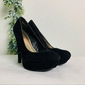 BAMBOO Sz 8.5 Black Velvet Platform Heels
